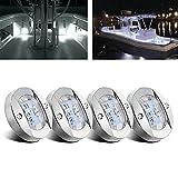 CBJEHIFEY 4 piezas Luces de navegación LED 12V para barcos marinos Impermeables Luces de popa Blanco