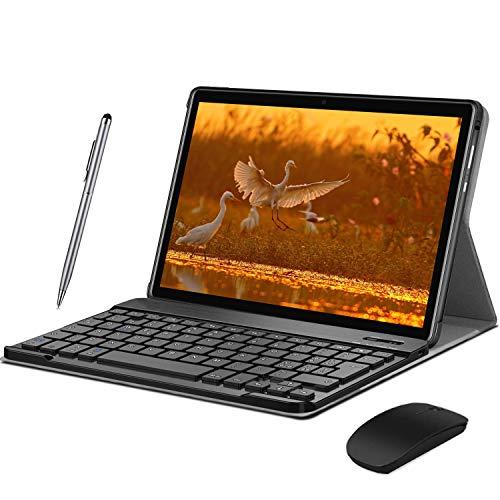Tablet 10.1' 4G Android 9.0 Dual SIM Tablet 2 en 1 con teclado 4GB RAM y 64GB ROM, Quad Core, 1080p Full HD, WiFi, Bluetooth, GPS, OTG, tipo C - Negro