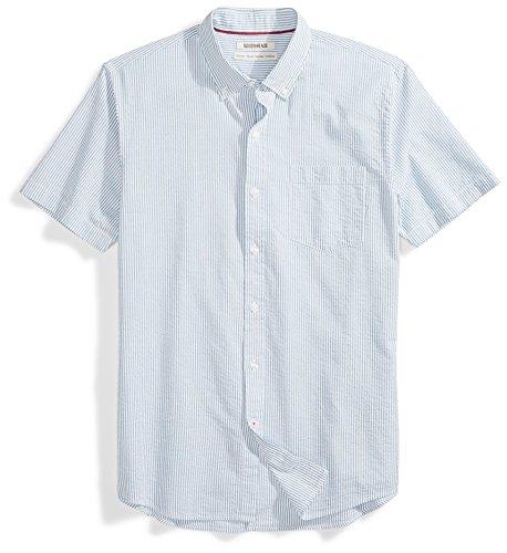 Amazon Brand - Goodthreads Men's Standard-Fit Short-Sleeve Seersucker Shirt, blue/white, Large