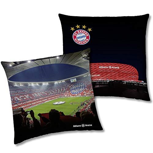 FC Bayern München Wende-Kissen Allianz Arena 40 x 40 cm Fußball Rekordmeister Mia san Mia FCB Champions League Bundesliga Fankissen Kuschelkissen Dekokissen Kopfkissen Meister Polster z. Bettwäsche