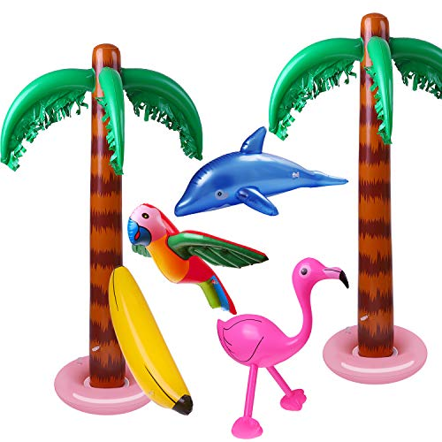 URATOT 6 Pack Inflatable Palm Trees Inflatable Bananas Flamingo Toys Parrot Dolphin Decorations for Summer Party Decorations Luau Backdrop