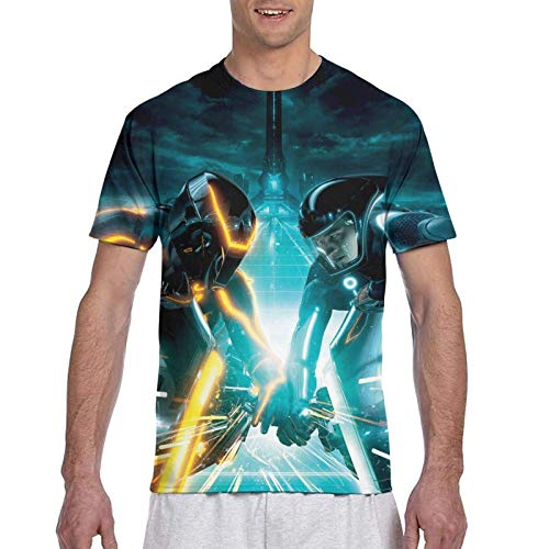 Yuantaicuifeng Daft Punk – Tron Legacy T-Shirt für Herren, Sommer, klassischer Rundhalsausschnitt, 3D-Druck, kurzärmelig Gr. 56, Siehe Abbildung