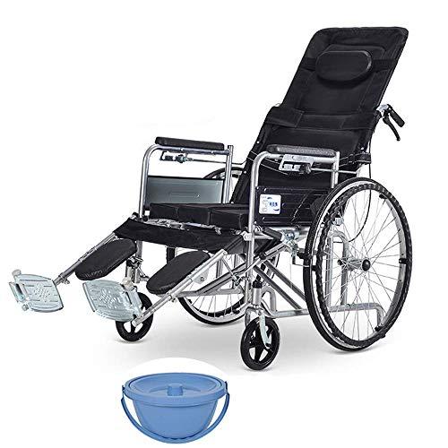 Pratica Comoda Sedia da Toilette Pieghevole con Ruote per WC con Pedale, capacità di Peso di 330 libbre, Portatile per Anziani disabili Donne Incinte Facile da Usare