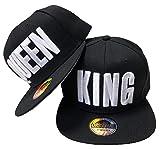 JameStyle26 - Juego de gorras de béisbol en diseño King & Queen King & Queen - Juego de utensilios de cocina, color negro Talla única