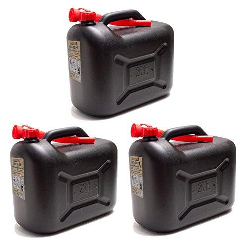 3er Set: 3x Benzinkanister 20 Liter schwarz KKS 20 PE BAUPROFI