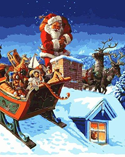 YEESAM ART Pintura de bricolaje por números para adultos principiantes niños, trineo de Papá Noel de 40,6 x 50,8 cm, lienzo de lino, acrílico, estrés, menos número, pintura regalos