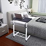 Bedside Table Mobile Medical Overbed Table, Student Small Computer Desk Writing Home Office Bed Laptop Desk Sofa Side End Table Adjustable Hight with Wheels for Small Space (Black)