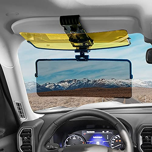 EcoNour Car Curved Sun Blocker for Car Windshield Visor Day & Night | 2 in 1 Polarized 360 Degree Rotatable UV and Anti Glare Visor for Car | Fits All Cars | Car Accessories For All Weather Conditions