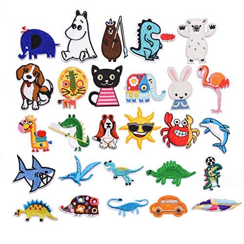 GloBal Mai Aufnäher Kinder Bügelflicken-Set - Garment Crafts DIY Dekorativer Patches Set,Schmetterlingen, Blumen, Rosen, Smileys, fünfzackigen Sternen, runden Schildern. (Color 3)