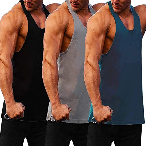 COOFANDY Men's 3 Pack Gym Tank Tops Y-Back Workout Muscle Tee Fitness Bodybuilding T Shirts (01_Black/Navy/Medium Gray-, Medium)