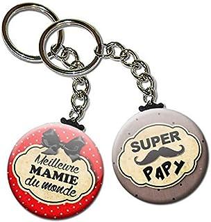 Duo lot de 2 Porte Clés Chaînette 3,8 centimètres Super Papy Meilleure Mamie du Monde Idée Cadeau Accessoire Papi Mamy Gra...