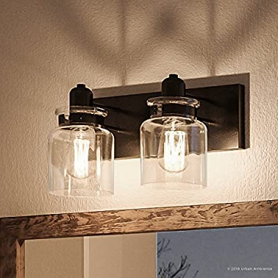 """Luxury Modern Farmhouse Bathroom Vanity Light, Medium Size: 8.625""""H x 13.25""""W, with Industrial Style Elements, Olde Bronze Finish, UHP2141 from The Bridgeport Collection by Urban Ambiance"""