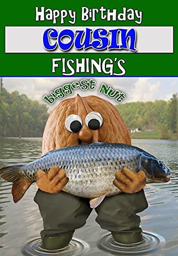 Tarjeta de cumpleaños para primo – Tuerca de pesca – Color interior = Posted Same Day!