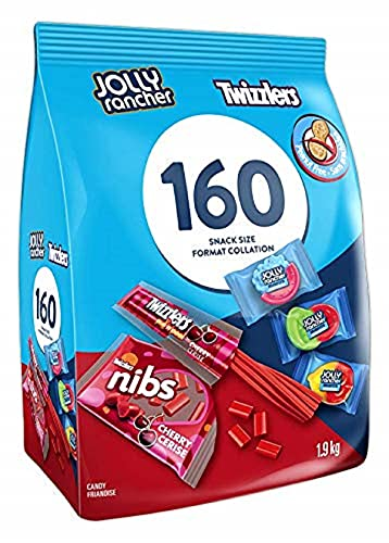 Twizzlers and Jolly Rancher Misfit Gummies 160ct Gummy Candy, Licorice,Summer Candy, Assorted Peanut Free Bulk Candy, Bulk Bag, 1.9 Kilogram