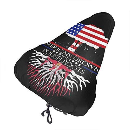 PRETYSOFTY Fahrradsitzbezug - Amerikanische Krone mit polnischen Wurzeln Wasserdichter Fahrradsattel Regen Sonne & Staubbezug Mit Kordelzug, Fahrradsitzschutzschild