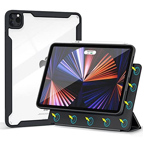 Gahwa Cover Magnetica per iPad PRO 11 2021 2020 2018 3a Generazione, Custodia Case Ultra Sottile Compatibile Apple Pencil 2 con Tri-Fold Riattivazione Sospensione Automatica - Nero