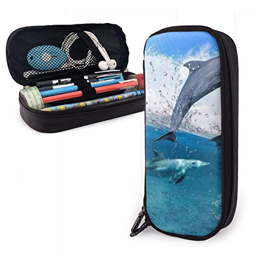 NiYoung Fashion Big Capacity Pencil Pen Case Stationery Box Desk Organizer with Zipper Storage Pouch Holder for School & Office Supplies - Strong Waves Jumping Dolphin Great Ocean Wave Blue