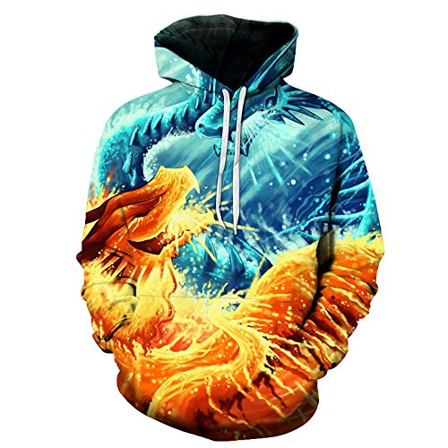 Series 3D Hoodies for Men and Women Pullover Long Sleeve Sweatshirt Fire and Ice Dragon 3D Hoody,l