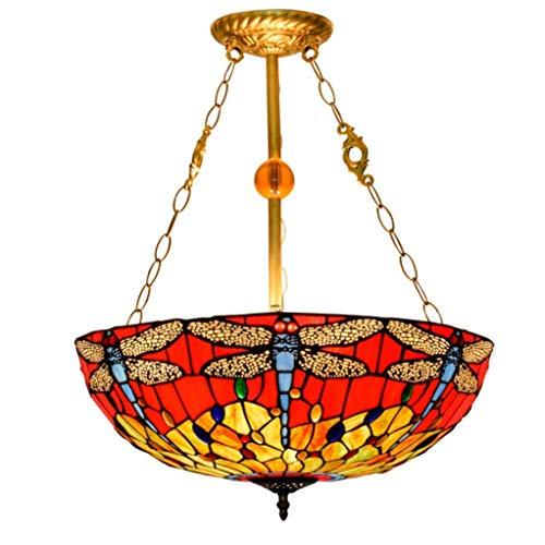 HNWNJ Iluminación Colgante Lámpara por un salón 50CM American Retro Creativa libélula Parte Inferior roja Italiana Europea vidrieras salón Comedor lámpara del Dormitorio