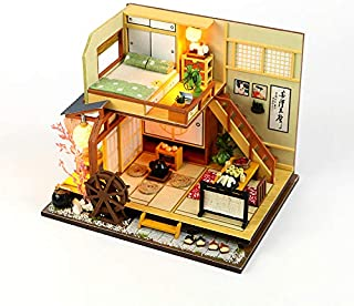 YLXT 3D Puzzles Miniature DIY Dollhouse Handmade Kit Holiday Times Series Accessories with Furniture LED, Best Birthday for Girls (2)