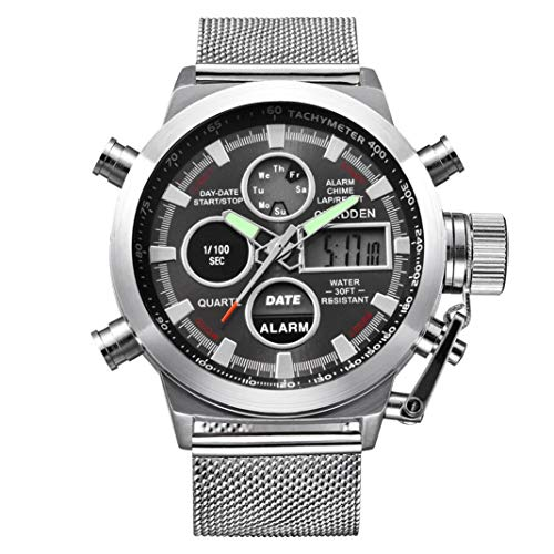 Gift Watch! Wensltd Men's Watch Wrist Dual Time LED Digital Analog Quartz Movt Steel Band (Silver)
