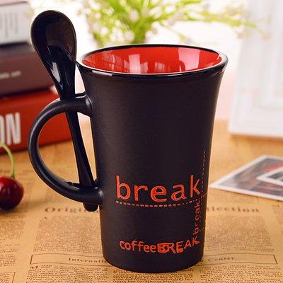 Taza de cerámica creativa Mugcap Desayuno Continental con una cuchara de leche...
