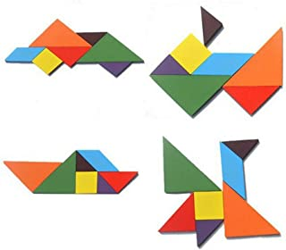 Minelody Wooden Tangram, Puzzle Jigsaw Puzzle Toys DIY Hand-Made Puzzle Intelligence Toy Brain Training Geometry Intelligence Tangram Jigsaw.