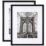 Onewall 40x50 cm Cadre Photo Mural en Verre Trempé, Cadre Photo en Bois Blanc avec Passe-Partout pour Photo de Format 28x36...