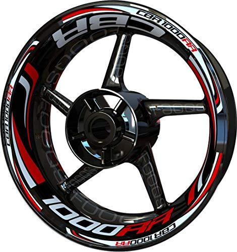 Motocicleta Moto Llanta Inner Rim Tape Decal Pegatinas F2 para Honda CBR 1000 RR CBR1000RR 1000RR (Blanco/Rojo)