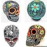 ARTESANO Hand-painted Mexican Sugar Skull | ONE SKULL | 3' Dia de los Muertos Altar Decoration | Day of the Dead Sugar Skull | Cinco de Mayo Ceramic Calavera Decor [Random Color SH]