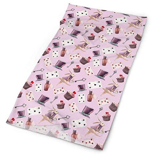 KS-QON BENG Magic Rabbit Poker Card Rosa Mujeres Hombres Adolescentes al aire libre elástico sin costuras Bandana Rainbow Zebra Print Headwear