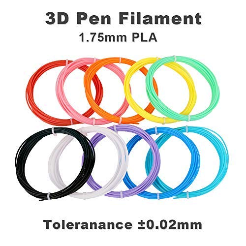 3D Pen Filament Refills, 1.75mm PLA Filament, 10 Different Colors, 16 Ft/5M Each, Fit All 3D Pen, Christmas Gifts for Kids