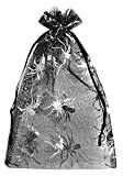20 bolsas de organza color negro con telas de araña óptica metálica, telas de araña, Halloween, fiesta, decoración de horror (23x15cm)