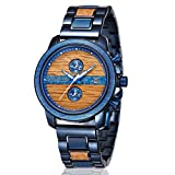 Mens Wooden Watches, shifenmei S5596 Luxury Wood Watches for Men Chronograph & Date Display Minimalist Quartz Watch Versatile Male Timepieces with Wooden&Metal Strap (Maple+Blue Wood)