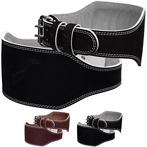 Mytra Fusion 6 inch Leather Weight Lifting Belt courted Power Lifting Back Support Belt Weight Lifting Belt Men Weight Lifting Belt Women Weight Lifting Belt Lever Weight Lifting Powerlifting Belt