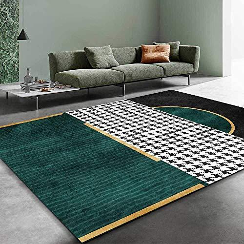 WQ-BBB Keine Allergien formaldehydfrei Zimmers Teppichboden Modisches Design aus kontrastierendem geometrischem Design Schwarz-Weiß-Grün-Gold hygroskopizität teppiche Esstisch Wohnzimmer 40X60cm