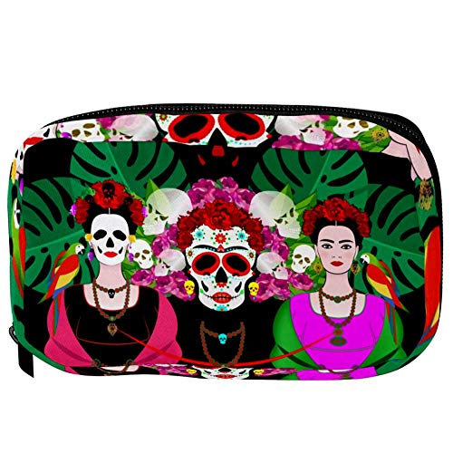 TIZORAX Cosmetic Bags Mexican Skull Women With Tropical Leaves Perroots Handy Toiletry Travel Bag Organizer Makeup Pouch for Women Girls