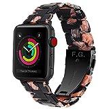 Fullmosa 7 Colores Correa de Repuesto para Apple Watch 38mm 40mm 42mm 44mm, Bright Correa de Resina Compatible con iWatch Band Serie 4/3/2/1 Nike+ Deporte, 44mm Rosa Negra/Herraje Negro