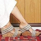 CCJW Correas de la Piscina Ducha, Zapatos de Gran tamaño Respirable cuña de talón, talón de cuña Sandalias de Stripes_34, Antideslizante Suave Cubierta Zapatillas de casa kshu