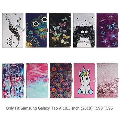 Ancase Tablet Hülle kompatibel für Samsung Galaxy Tab A 10.5 Zoll (2018) T590 T595 Hülle Case Leder Tasche Muster Schutzhülle Flip Cover mit Kartenfach - Einhorn Rosa