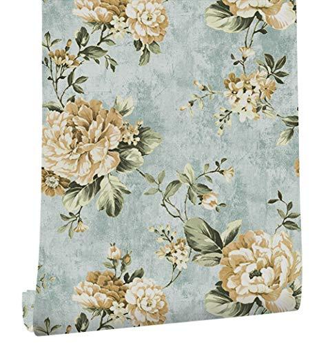 "HaokHome DR3073 Non Woven Vintage Flower Wallpaper Blue Home bedroom WallPaper 20.8"" x 393.7"""