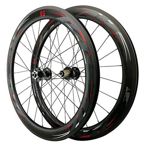 Bicicleta De Carretera Ruedas 700C,Fibra De Carbono 24H Apertura De 44/55mm Freno De Disco Ciclismo Wheels Volante 7/8/9/10/11 Velocidades Deportes (Color : Black hub, Size : 55mm)