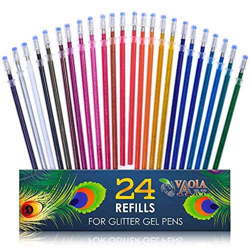 Glitter Gel Pen Refills - Set of 24 Glitter Refills To Gel Pens for Kids, Girls, Adult Coloring - Color Gel Pens Glitter Refills - Sparkly Color Gel Pens for Drawing, Coloring, Spirograph