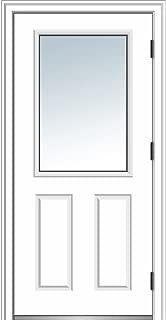 National Door Company ZZ364594L Steel, Primed, Left Hand Outswing, Prehung Door, 1/2 Lite 2-Panel, Clear Glass, 32