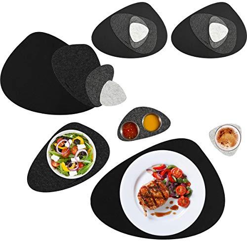 DuneDesign 16er Flusskiesel Tischset - Filz Platzset und Untersetzer für 4 - Abwaschbar Hitzefest