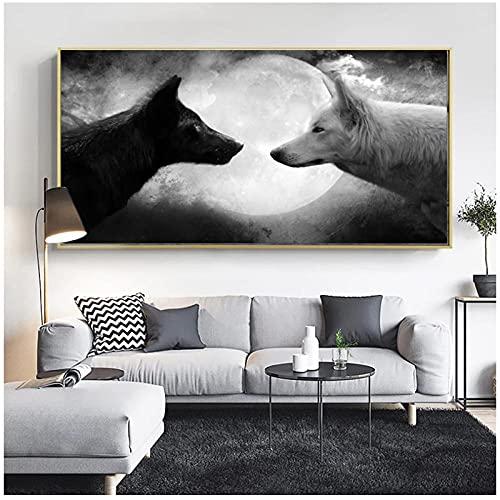 artaslf Lienzo blanco y negro con lobo y luna carteles de animales e impresión arte de pared decoración para sala de estar,50x100cm sin marco