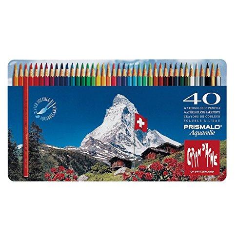 Caran d-Ache Prismalo - Matite Colorate Acquerellabili, Scatola in Metallo da 40 matite