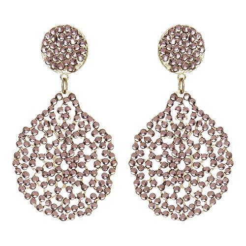 Sodini - Pendientes con colgante Iride de oro y pedrería rosa oscuro