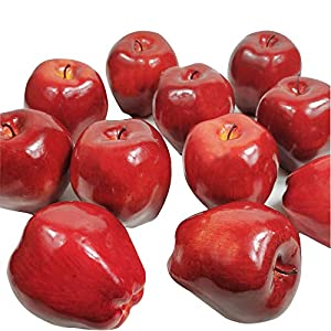 Artificial Fruit Fake Simulation Fruit for Home Kitchen Party Photography Prop Wedding Decoration (12Pcs Dark Red Apple)