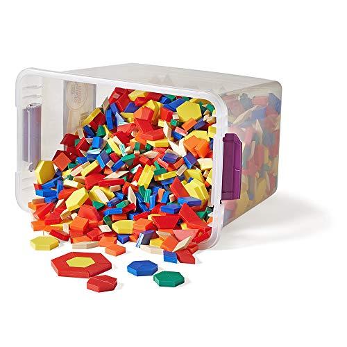 hand2mind Plastic Pattern Blocks for Kids, Shapes for Kindergarten, Montessori Toys, Geometric Shapes, Symmetry, Shape Recognition, Pattern Blocks for Classroom (Set of 1,250)